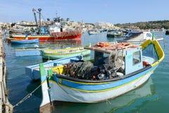 Рыбацкий поселок Marsaxlokk на острове Мальты Стоковая Фотография RF