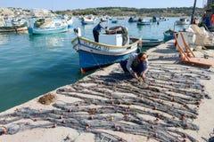 Рыбацкий поселок Marsaxlokk на острове Мальты Стоковое фото RF