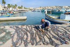Рыбацкий поселок Marsaxlokk на острове Мальты Стоковые Фотографии RF