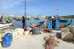 Рыбацкий поселок Marsaxlokk на острове Мальты Стоковое Фото