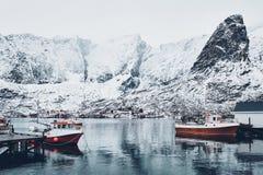 Рыбацкий поселок Reine, Норвегия стоковые изображения
