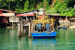 Рыбацкий поселок молы на Pulau Pangkor, Малайзии Стоковые Изображения