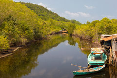 Рыбацкий поселок на реке, Phu Quoc стоковая фотография