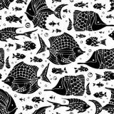 Рыба вектора безшовная silhouettes картина Стоковая Фотография