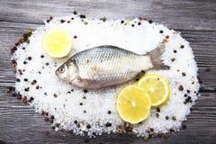 Рыба в реальном маштабе времени свежего карпа лежа на a на предпосылке соли и перца с кусками лимона и с укропом соли Рыбы в реал Стоковые Фото