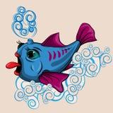 Рыба плавая на волны Стоковое Изображение