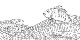 Рыба развевает черная белая графическая абстрактная иллюстрация эскиза картины doodle Стоковое Изображение RF