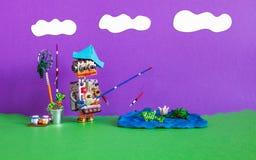 Рыбная ловля и каникулы робототехнические Робот рыболова уловил больших рыб Приманка ведра штанги аксессуаров рыболова Лето завол стоковое изображение