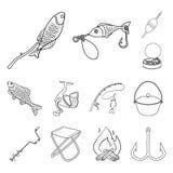 Рыбная ловля и остатки конспектируют значки в собрании комплекта для дизайна Снасть для удить иллюстрацию сети запаса символа век Стоковое Изображение RF
