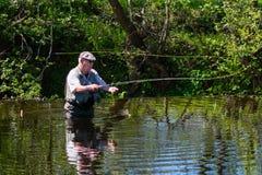 Рыбная ловля мухы человека на реке стоковое фото