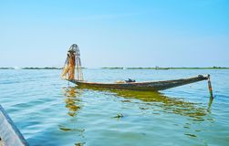 Рыбная ловля утра, озеро Inle, Мьянма Стоковое Изображение