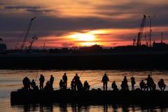 Рыбная ловля вечера стоковая фотография