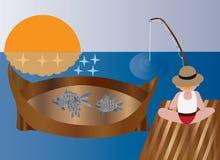 Рыбная ловля вечера иллюстрация штока