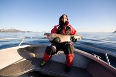 Рыбная ловля женщины Стоковые Фотографии RF