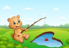 Рыбная ловля медведя шаржа в в форме сердц иллюстрация вектора