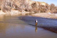 Рыбная ловля мухы осени в реке 2 Стоковая Фотография RF