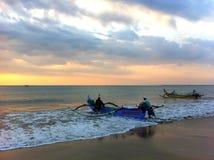 Рыбная ловля ночи в океане Стоковое Фото