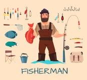 Рыбная ловля оборудует иллюстрацию иллюстрация вектора