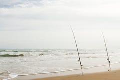 Рыбная ловля пляжа Стоковая Фотография