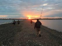 Рыбная ловля пляжа Fairfield Стоковое Фото