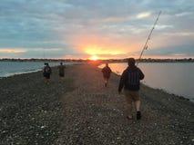 Рыбная ловля пляжа Fairfield стоковые изображения rf