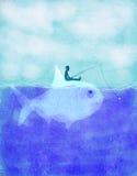 Рыбная ловля рыболова на иллюстрации концепции экологичности рыб цифровой Стоковая Фотография