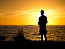 Рыбная ловля человека в Мексиканском заливе Стоковые Изображения