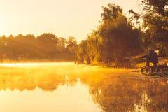 Рыбная ловля человека на озере стоковая фотография rf