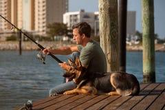 Рыбная ловля человека Стоковое Изображение