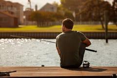 Рыбная ловля человека Стоковое Изображение RF