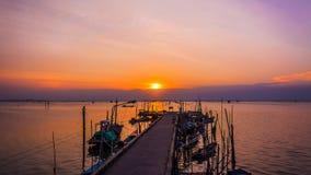 Рыбный порт в twilight времени, Таиланд Стоковое Изображение RF