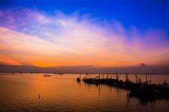 Рыбный порт в twilight времени, Таиланд Стоковое Фото
