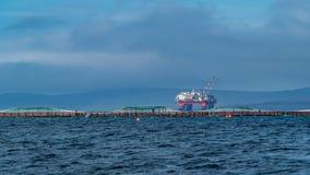 Рыбоводческое хозяйство и нефтяная платформа Оркнейские острова, Шотландия стоковые фото