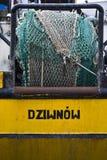 Рыболовная сеть на шлюпке в городе Dziwnow стоковое фото rf