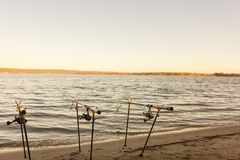 Рыболовные удочки и рыболовные принадлежности на побережье речном береге, озере Стоковая Фотография RF