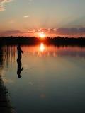 рыболовство вечера стоковая фотография rf