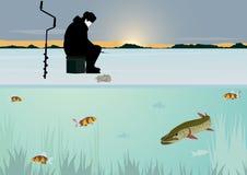 Рыболовство зимы на озере Стоковое Фото