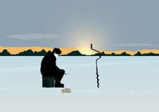 Рыболовство зимы Стоковые Изображения RF