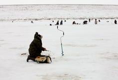 Рыболовство зимы Стоковое Изображение RF