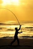 рыболовство рассвета идет Стоковые Изображения