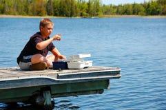 рыболовство ребенка Стоковое Изображение RF