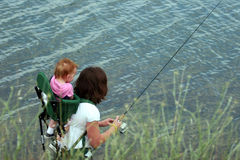 рыболовство семьи Стоковое Фото