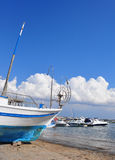 рыболовство стыковки шлюпки сухое старое Стоковая Фотография RF