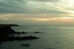 Рыболовы и море стоковое фото rf