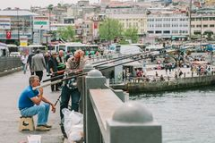 Рыболовы улавливают рыб от моста Стамбул, Турция стоковое фото rf