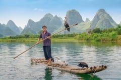 Рыболов баклана и его птицы на реке Li в Yangshuo, Guangxi, Китае стоковые фото