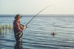 Рыболов в красной рубашке уловил судака в пресноводном пруде стоковые фотографии rf