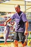Рыболов в острове Kastellorizo, Греции стоковое фото