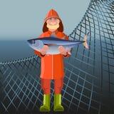 Рыболов держа рыб иллюстрация штока