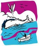 Рыболов и кит бесплатная иллюстрация
